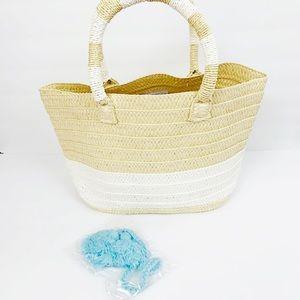 Altru Straw Tote Bag Tan White Stripe Blue Tassel